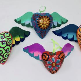 Flying Heart Paper Mache Puffed Heart